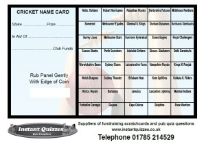 Cricket Fundraising Scratchcards