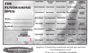 Golf Fundraising Scratchcards