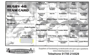 Rugby Fundraising Scratchcards