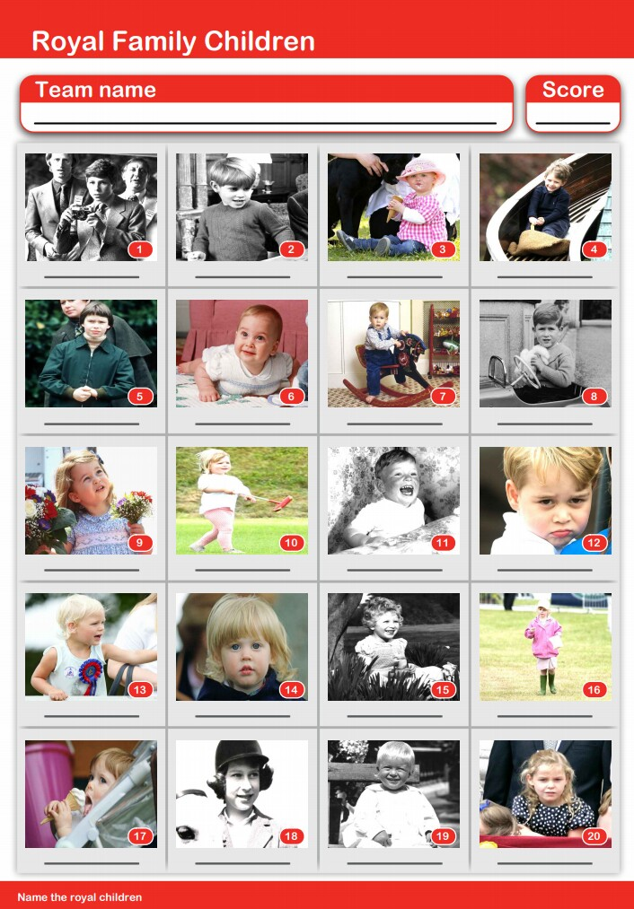 20-Picture Quiz of Royal Children