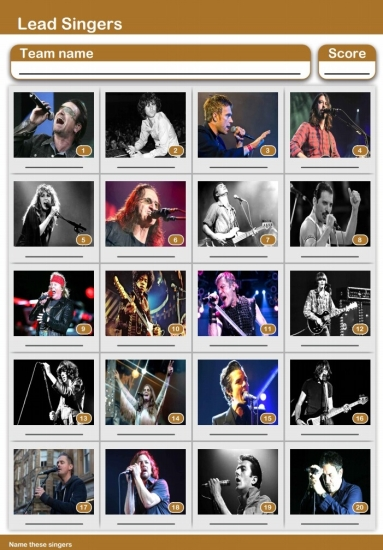 Lead Singer Picture Quiz