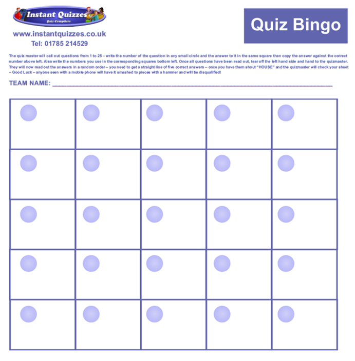 Bingo Quiz Answer Sheet
