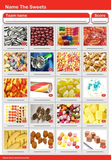 Sweets Picture Quiz