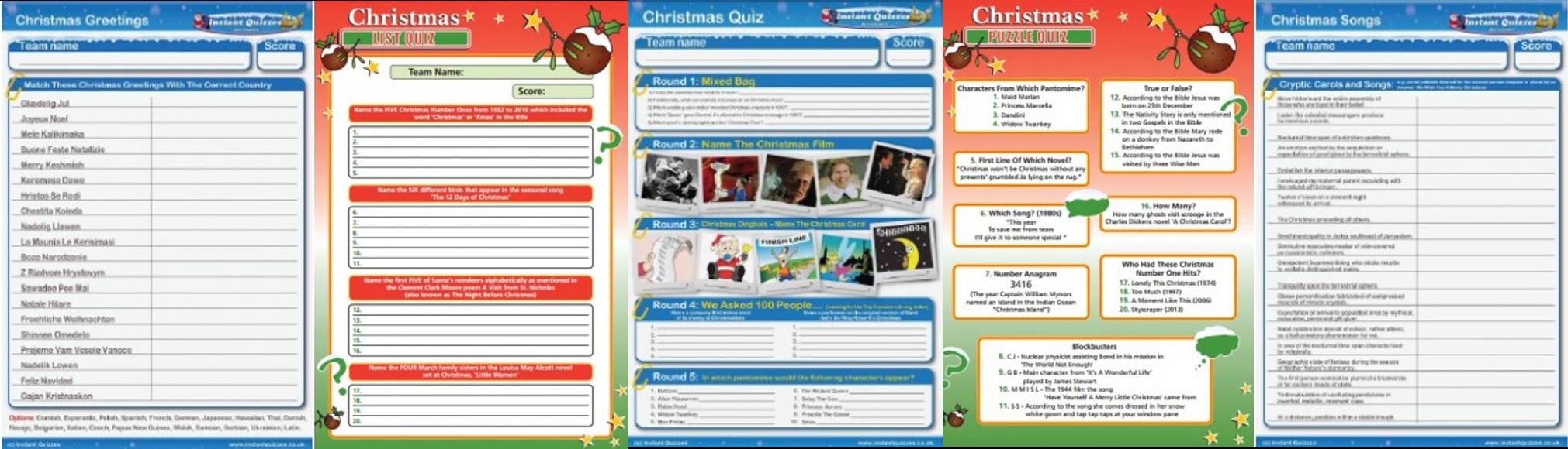 Christmas quiz handouts